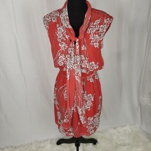 Red Floral Dress Cherry blossom Print